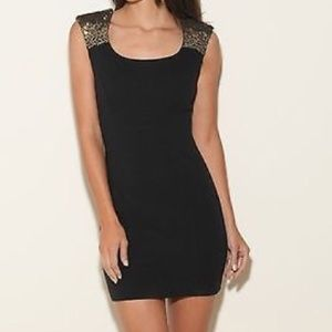 Black Sequin Shoulder Guess Bodycon Dress